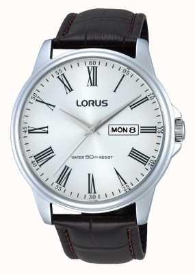 Lorus Relógio de couro marrom em aço inoxidável de couro marrom RXN11DX9