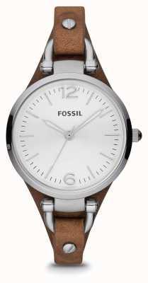 Fossil Relógio de couro em couro marrom para mulher ES3060