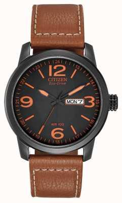 Citizen Eco-drive para homens | couro marrom militar chandler BM8475-26E