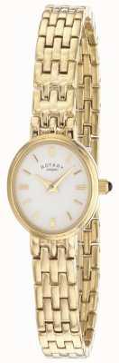 Rotary Mostrador oval feminino com pulseira banhada a ouro LB02084/02