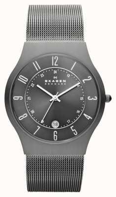 Skagen Relógio de cinto de malha de titânio cinza para homens cinza 233XLTTM