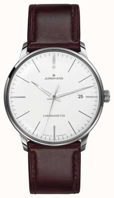 Junghans Mens meister cronômetro pulseira de couro marrom 027/4130.00