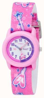 Timex Relógio analógico de coroa rosa para crianças com bailarina T7B151