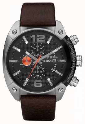 Diesel Mens cronógrafo preta redonda pulseira de couro marrom DZ4204