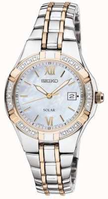 Seiko Relógio vestido de mulher solar | pulseira de aço inoxidável | SUT068P9