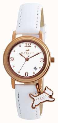 Radley Mostrador branco pulseira de couro branco darlington das mulheres RY2006