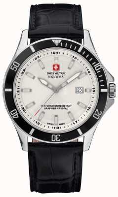 Swiss Military Hanowa Mens flagship white dial bisel preto e pulseira de couro 6-4161.2.04.001.07