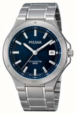Pulsar Mens titanium blue dial data display watch PS9123X1