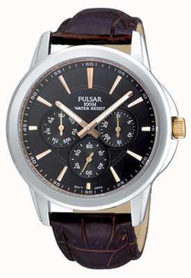 Pulsar Bracelete de croc-padrão marrom de aço inoxidável para homens PP6019X1