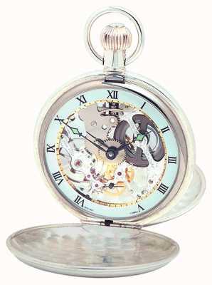 Woodford Relógio de bolso suíço de esqueleto de prata esterlina 1003