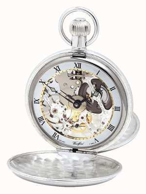 Woodford Relógio de bolso de prata com tampa dupla e corrente de albert 1066