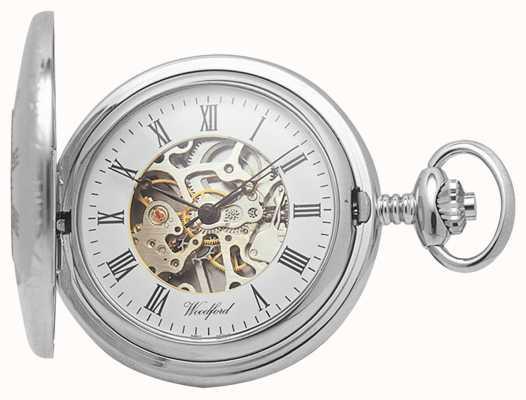 Woodford | meio caçador | cromado | esqueleto | relógio de bolso | 1020