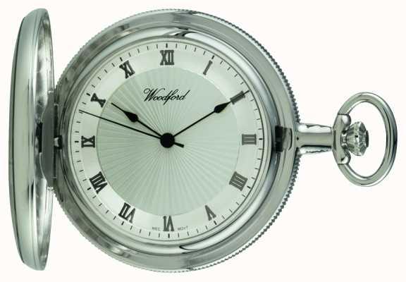 Woodford Relógio de bolso mecânico de cinturão de prata cromado 1054