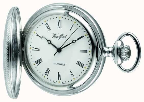 Woodford Relógio de bolso mecânico de meio cinto de cromo branco 1055