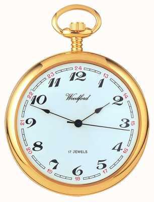 Woodford Relógio de bolso mecânico em metal branco dourado a ouro 1031
