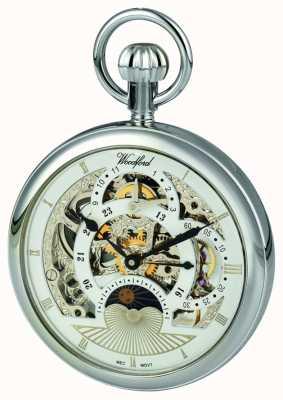 Woodford Relógio de bolso dual time zone do seletor de esqueleto cromado 1050