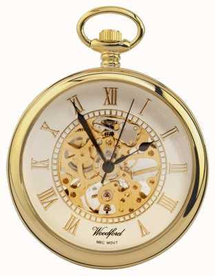 Woodford | rosto aberto | banhado a ouro | esqueleto | relógio de bolso | 1030