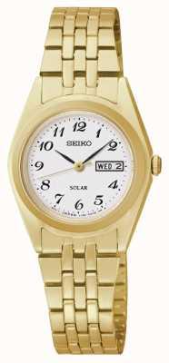 Seiko Relógio de discagem clássico tom de ouro movido a energia solar SUT118P9