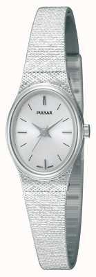 Pulsar Relógio de discagem oval de malha de malha de aço inoxidável para mulher PK3031X1