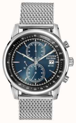 Citizen Relógio de cronógrafo de malha de discagem azul escuro de aço inoxidável CA0331-56L
