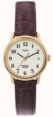 Timex Senhoras naturais marrom relógio leitor fácil T20071