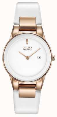 Citizen Relógio de couro de cerâmica cerâmico de ouro-placa de axioma feminino GA1053-01A