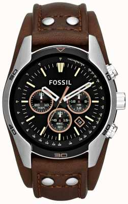 Fossil Mens coachman preto discagem marrom couro cuff pulseira relógio CH2891