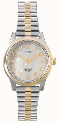 Timex Senhoras dois tons vestido expansor relógio T2M828