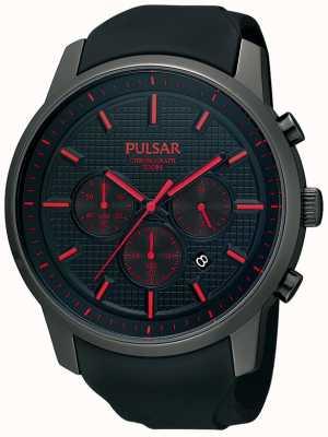 Pulsar Relógio de fita de borracha de detalhe vermelho ionizado preto Mens PT3195X1