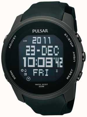 Pulsar Relógio de fita de borracha de aço preto banhado a ouro digital para homens PQ2011X1