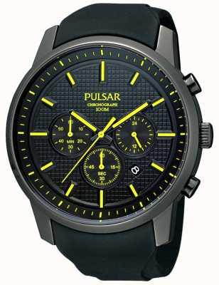 Pulsar Relógio de fita de borracha de detalhe amarelo ionizado preto para homens PT3193X1