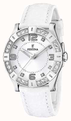Festina Relógio de couro branco ajustável de cristal de aço inoxidável para mulher F16537/1