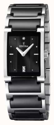 Festina Relógio retangular de cerâmica em aço inoxidável preto cerâmico para mulher F16536/2