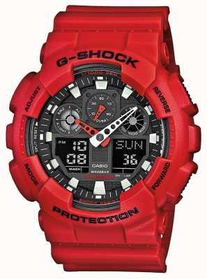 Casio Relógio multifunções de resina vermelha para homens GA-100B-4AER
