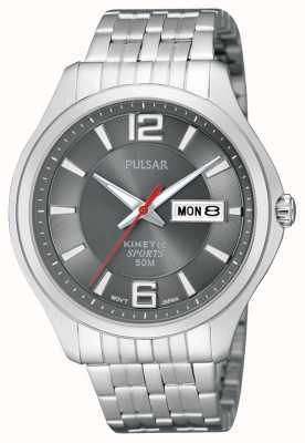 Pulsar Mens cinética esporte aço inoxidável cinza mostrador relógio PD2035X1