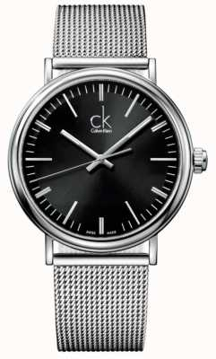 Calvin Klein Relógio de cinto de malha de mostrador preto para homens K3W21121