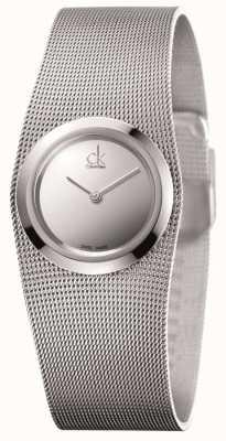 Calvin Klein Relógio analógico de aço inoxidável impulsivo de prata para mulheres K3T23128