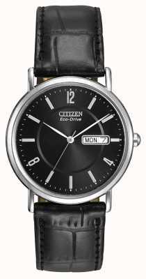 Citizen Corpo de couro preto para homem eco-drive BM8240-03E