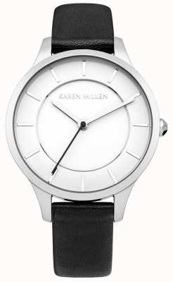 Karen Millen Relógio de cinta de couro de aço preto ionizado para mulheres KM133BA