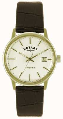 Rotary Avenger gents gold plate strap watch GS02876/03