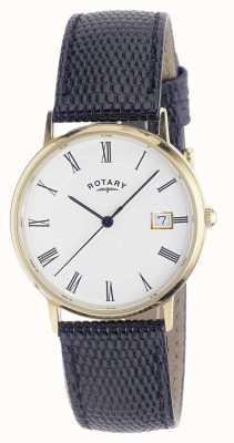 Rotary Mens 9ct relógio de fita de ouro GS11476/01