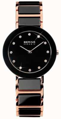 Bering Relógio de cristal cerâmico tom dual moderno 11429-746
