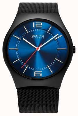 Bering Relógio de banda de malha cerâmica para homens 32039-447