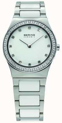 Bering Cerâmica branca feminina, relógio de cristal 32430-754