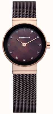 Bering Relógio de malha clássico marrom de senhoras 10122-265