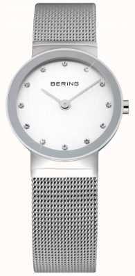 Bering Relógio de senhora de tempo | pulseira de malha de prata em aço inoxidável | 10126-000