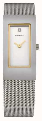 Bering Malha de malha, aço, mostrador branco, sotaque de ouro 10817-004