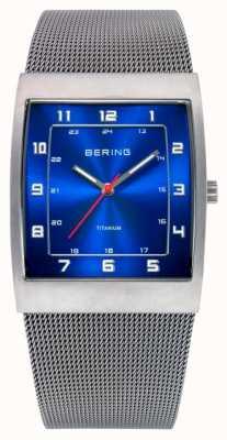 Bering Mens relógio de aço, quadrado azul 11233-078
