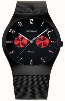 Bering Mens titânio preto vermelho acento malha cintura relógio 11939-229