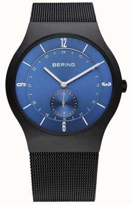 Bering Mens black, slim, relógio de discagem azul 11940-227